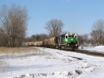 comin around the bend with grain cars in tow