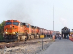 Southbound BNSF Loaded Grain Train Passing the UP Steam Special