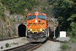 BNSF power exits the twin tunnels