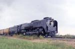 UP 844 gains speed heading North toward Wichita from Wellington, KS