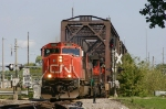 Southbound CN freight coming off old swing bridge