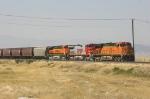 Eastbound grain train sitting in the yard