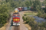 Westbound freight led by a warbonnet