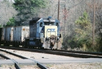 The elusive 4617 pulls a rock train through Selma, NC.
