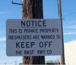 BNSF Trespassing Sign