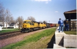 CNW 8605 leading west past the then still new railroad park