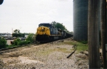CSX 222 & 9002 heading east with coal empties