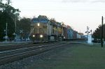 MORNING TIME AND ITS A SOUTH BOUND Q TRAIN WITH 2 UP'S PULLING IT