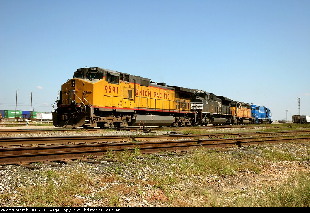 UP 9591, NS 2703, UP 3505, and GMTX 2153