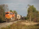 Autumn is starting to take grip of the Michigan countryside as BNSF 5772 leads its train from the siding