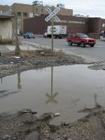 Submerged rail on Kansas Ave at US 69