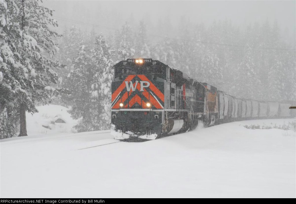 UP 1983 in late spring Sierra snowfall at Soda Springs