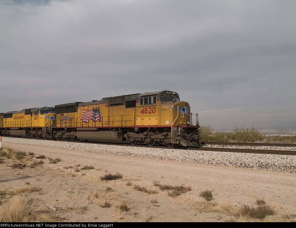 UP 4820 leads an EB doublestack at 12:47pm