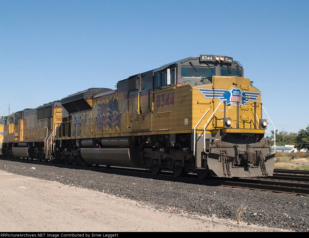 UP 8344 leads a doublestack EB at 10:50am