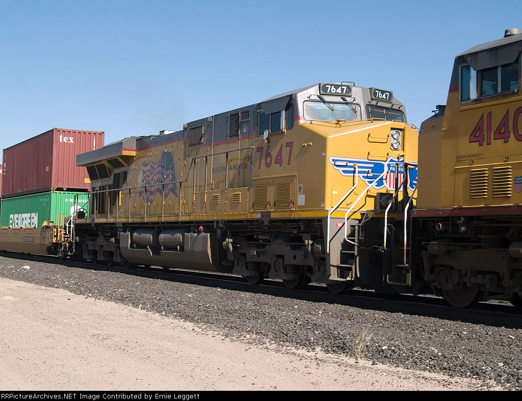UP 7647 #3 power in a doublestack EB at 10:50am
