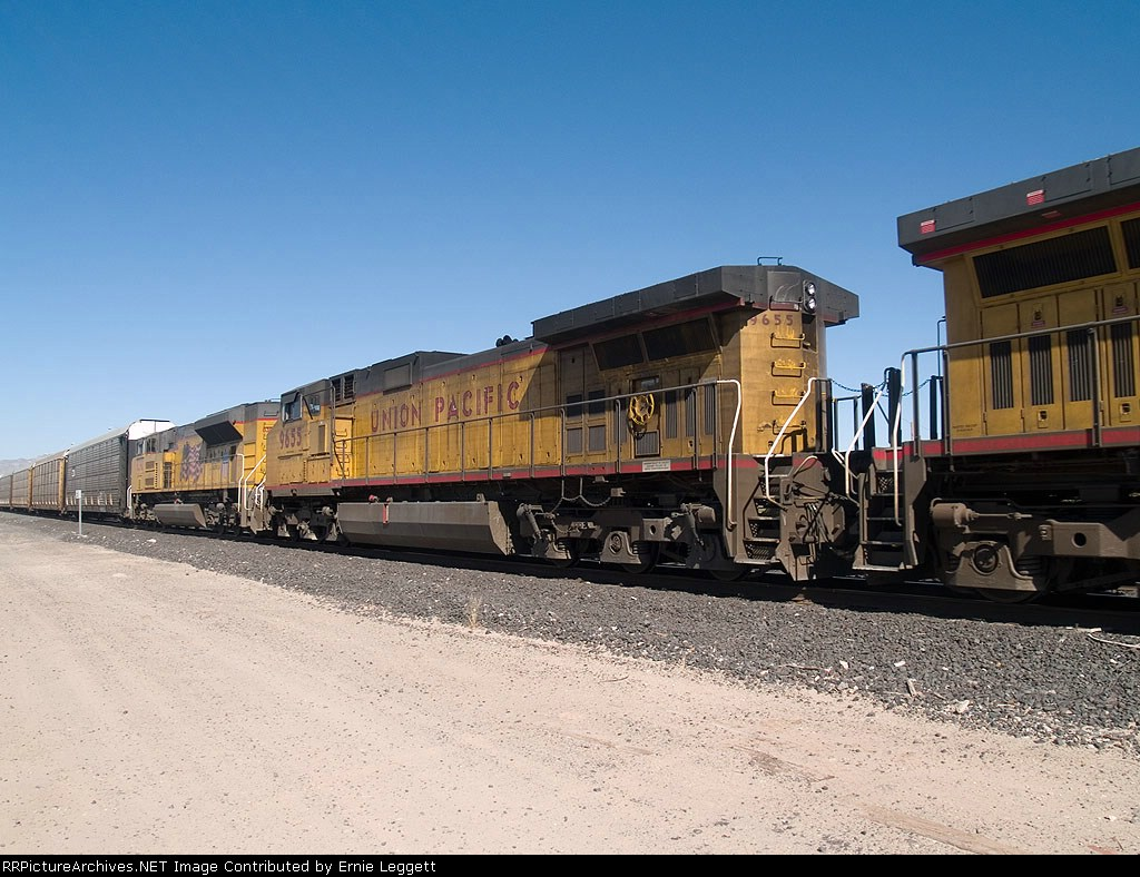 UP 9655 # 2 power in an EB autorack/doublestack at 11:44am