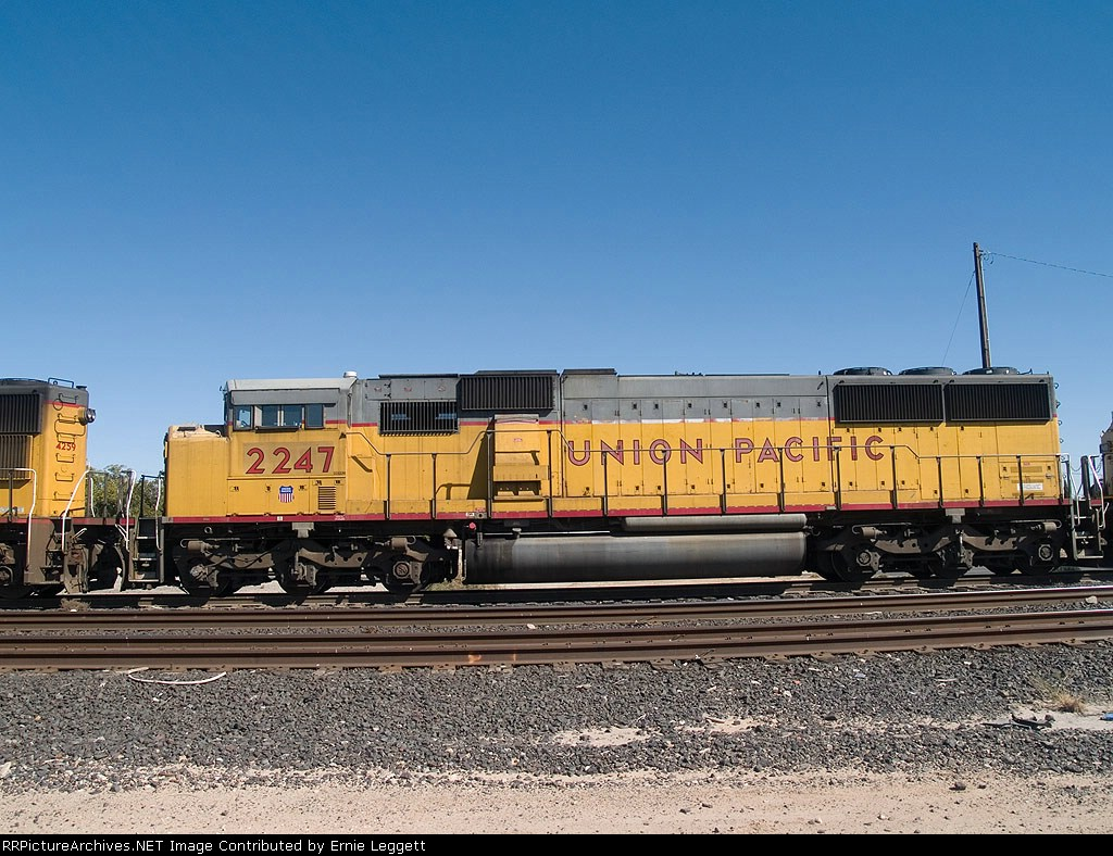 UP 2247 #2 power in a WB manifest into Alfalfa yard at 12:25pm