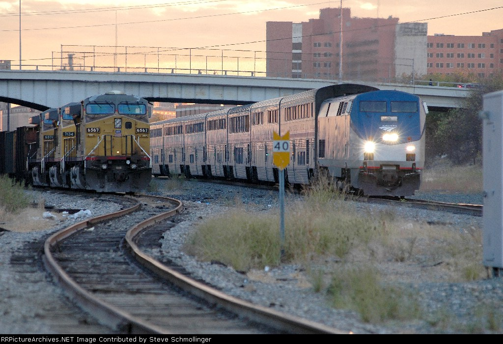 Amtrak Texas Eagle and UP coal train at Tower 55