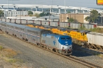 Amtrak Texas Eagle and UP and BNSF coal trains at Tower 55