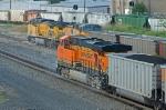BNSF and UP coal trains at Tower 55