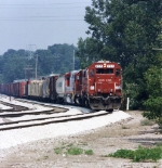 SOO 737 leading west with a brand new ATSF SD75M trailing