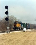 UP 3594 leads a Conrail unit westward