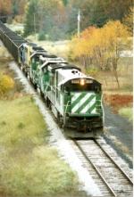 BN 5021 leading a coal train into the plant