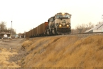 "BNSF 9765 (SD70MAC) leaving the ""Cow Capital of the West"""