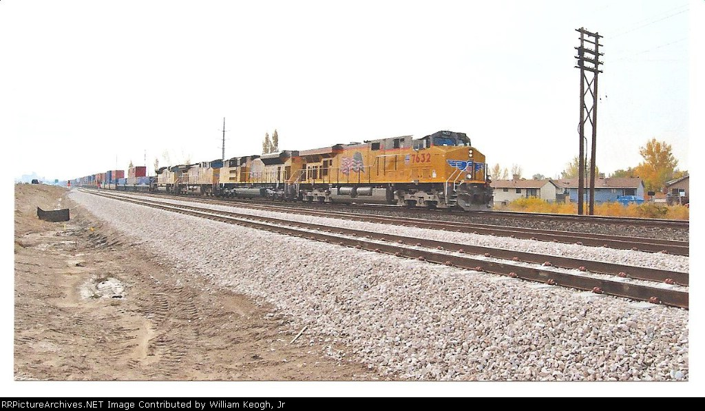 UP 7632 heads north to ogden on a cloudy day