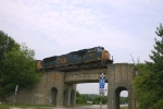Train for Andrews passes over a Seaboard bridge