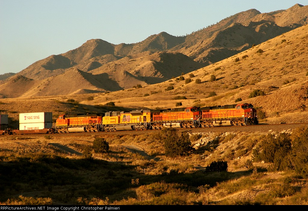 BNSF 4536, BNSF 5235, UP 8572, and BNSF 4562
