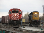 X500 pulls its pick up from Track 1 as the east end yard job waits