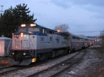 508 waits at the station with the Pere Marquette before the autumn sunrise