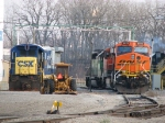 BNSF, leased and to be scrapped units sit in back of the house