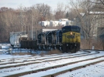CSX 7763 leading Q327-07 into the yard