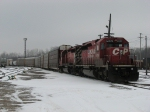 CP 6009 & 6018 sit tied down on the point of X500-24 on Christmas Day