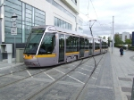 Dublin LRV 3004 using the scissors crossovers at end of the line
