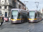 LRVs 3021 and 3010 pass at O'Conell St in the heart of Dublin