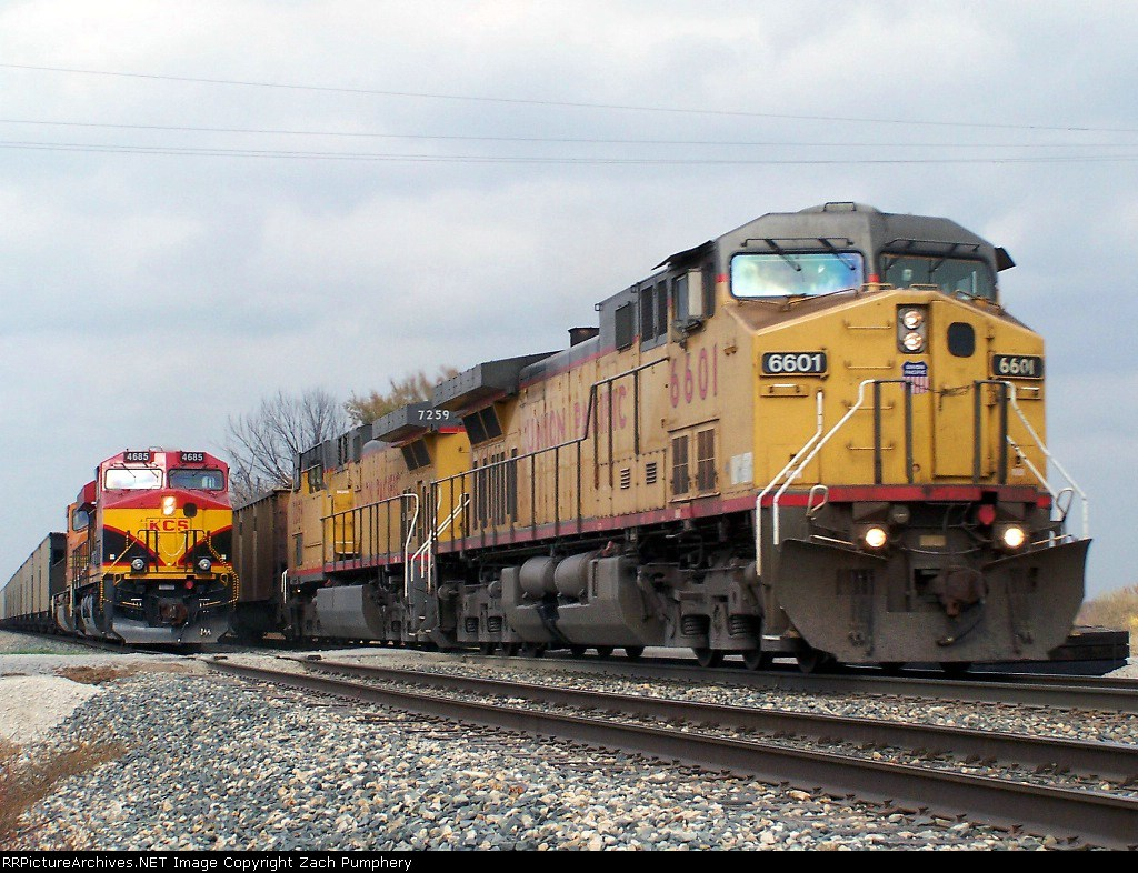 Southbound KCS Loaded Coal Train Passes Northbound KCS Empty Coal Train DPU's
