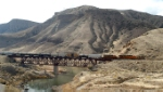 Northbound BNSF freight enters the Windriver Canyon at Boysen Dam