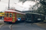 VonDullen streetcar 2001 passes the 947 on its way to Canal St.