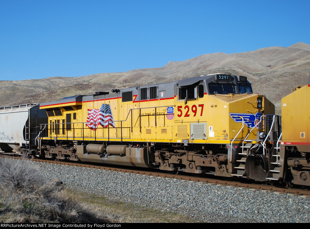 One of two DPU on west bound UP freight up Burnt River Canyon