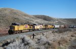 UP 5298 leads UP freight up grade within the Burnt River Canyon