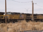 UP 5851 #2 power in a WB coal train into El Paso at 1:10pm