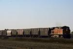 BNSF C44-9W 4319 leads a grain train solo.