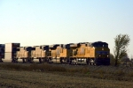 Here'a a closeup Union Pacific ES44AC 7644, SD70ACe 8596, and SD70Ms 4454 and 4633.