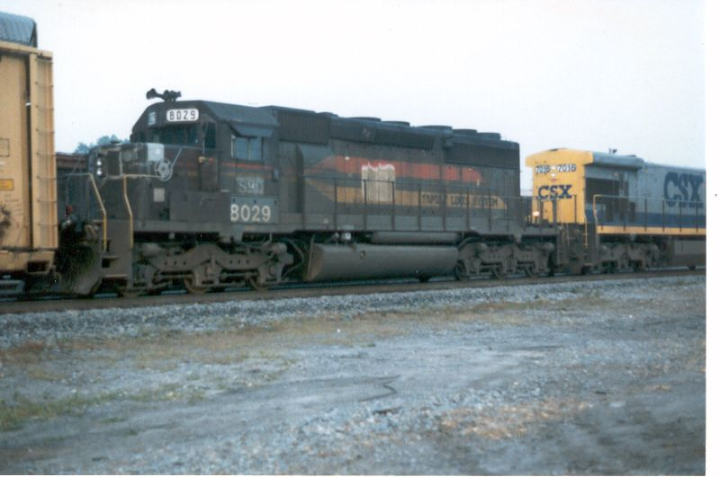 ex-Family Lines 8029 helps a northbound CSX freight