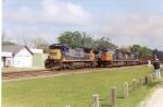 CSX trains race.