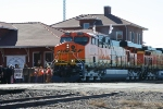 BNSF 6140 with Oklahoma Centennial Flags in front of Guthrie Depot