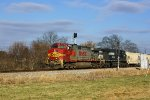 Q667 with foreign power passes the south end of Harper Siding